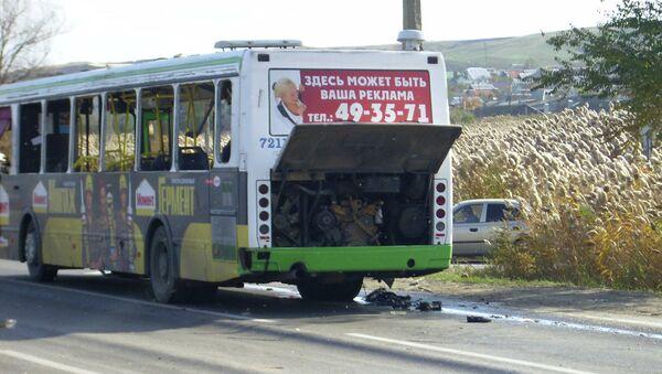Взрыв пассажирского автобуса в Волгограде. Фото с места события