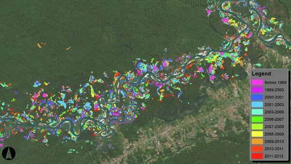 Карта вырубки лесов в районе реки Мадре-де-Диос