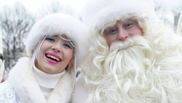 Дед Мороз и Снегурочка, архивное фото