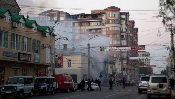 Взрыв прогремел у коньячного магазина в Махачкале