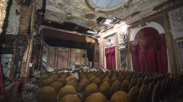 Зрительный зал театра Школа современной пьесы после пожара.