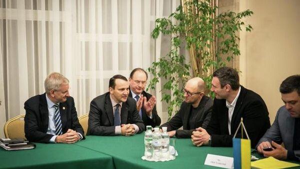Глава МИД Польши Радослав Сикорский на встрече с лидерами украинской оппозиции