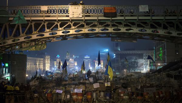 На площади Независимости в Киеве, где проходят акции сторонников евроинтеграции
