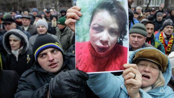 Пикет возле здания МВД Украины из-за избиения журналистки Татьяны Чорновил, архивное фото