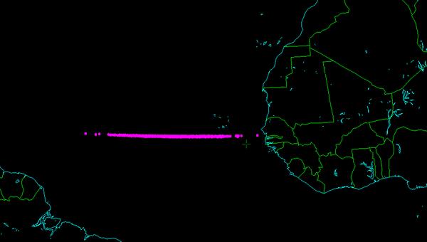 Район предполагаемого падения астероида 2014 AA