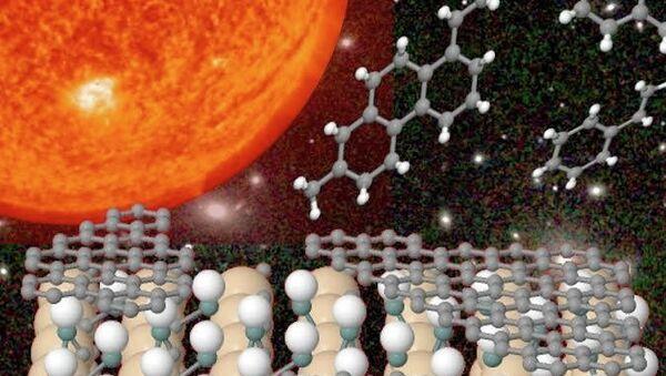 Иллюстрация показывает, как при взаимодействии с атомами водорода от графитовых пленок отрываются углеродные кольца
