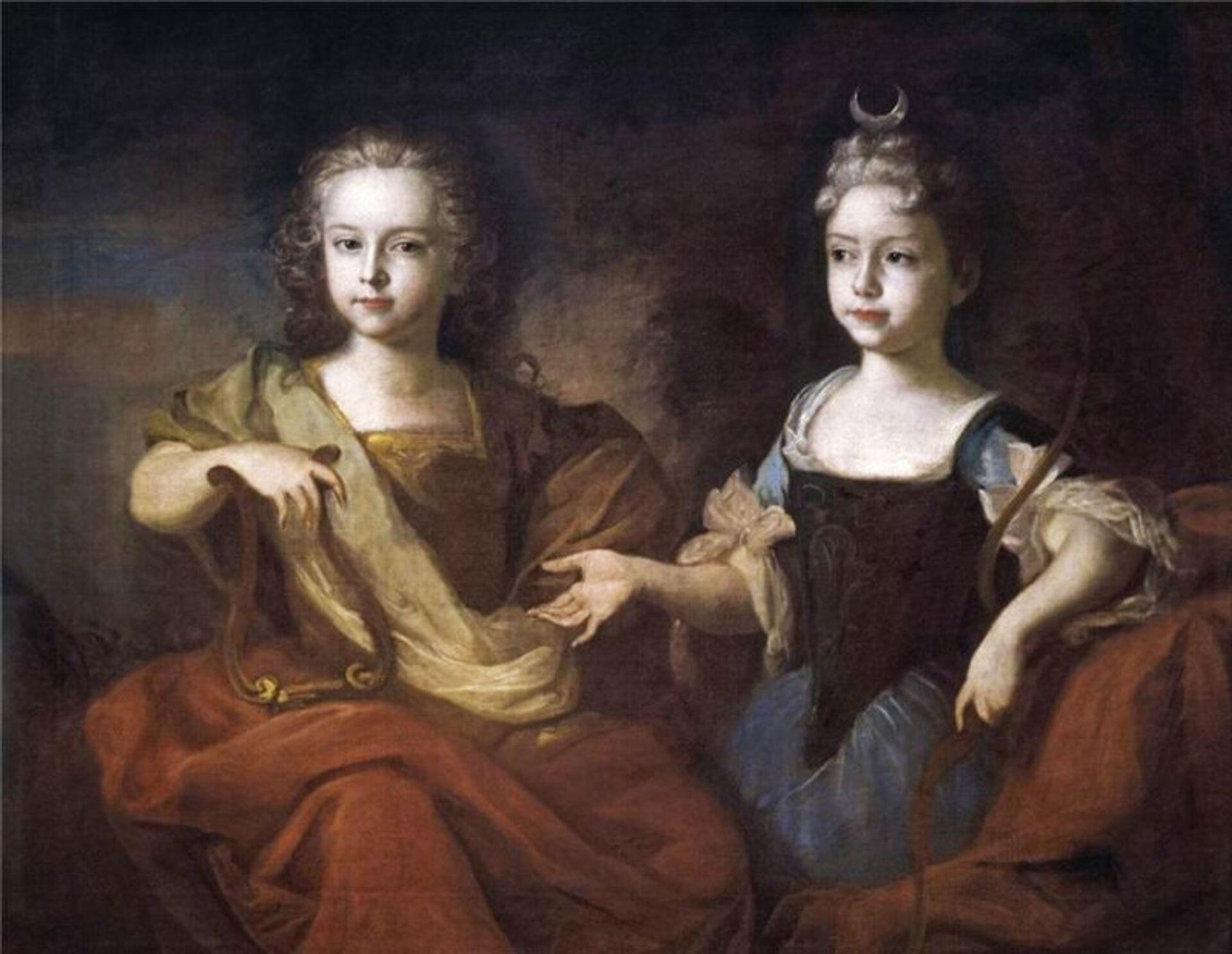 Луи Каравак. Пётр II и сестра Наталья в детстве. 1722 г. - РИА Новости, 1920, 14.10.2020
