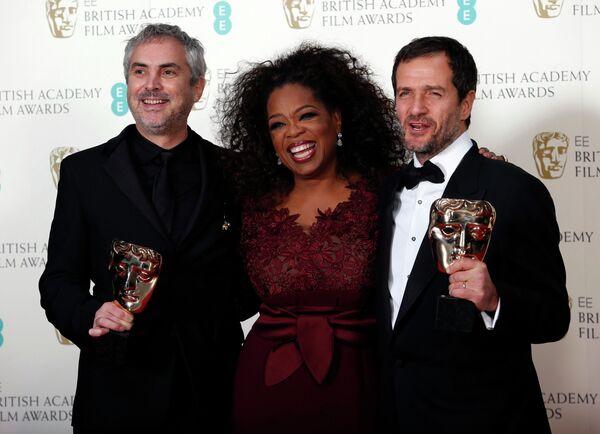 Альфонсо Куарон, Опра Уинфри и Дэвид Хейман на церемонии вручения премии BAFTA