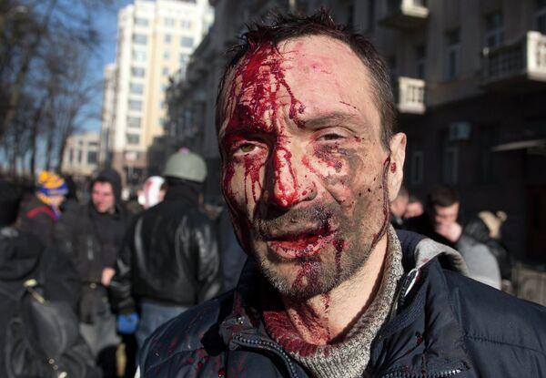 Пострадавший в ходе беспорядков в Киеве