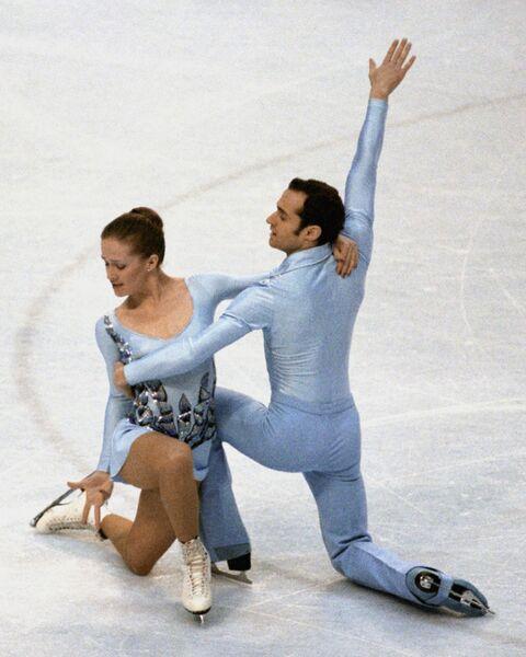 Выступление советские фигуристов Н.Линичук и Г.Карпоносова на Олимпиаде в Лейк-Плэсиде