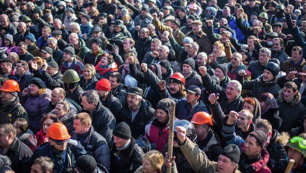 Сторонники радикальной оппозиции в Киеве. Архивное фото