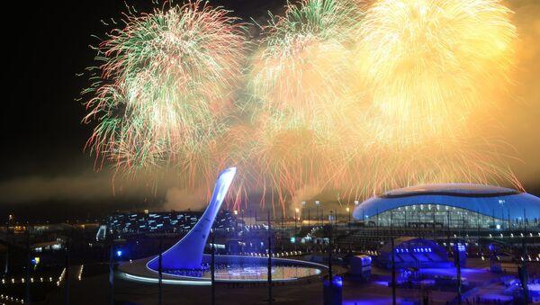 Праздничный фейерверк над Олимпийским Парком во время церемонии закрытия XXII зимних Олимпийских игр в Сочи.