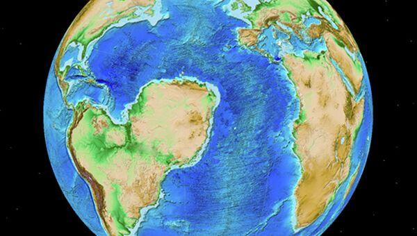 Альтернативная версия разделения суперконтинента Гондвана, где на месте пустыни Сахары - океан