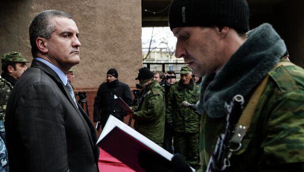 Присяга добровольцев на верность народу Крыма в Симферополе, архивное фото