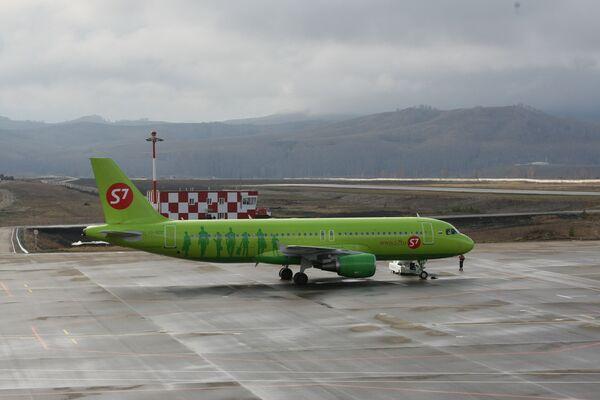 Первый рейс аэробуса А-320 в аэропорт Горно-Алтайска