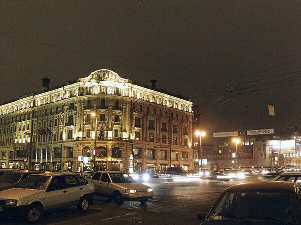 Московская гостиница Националь вечером
