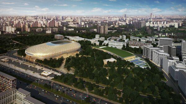 Проект ВТБ Арена Парк. Вид на парк физкультуры и спорта Динамо и Академию спорта