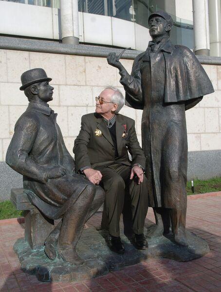 В. Ливанов на открытии памятника Шерлоку Холмсу и доктору Ватсону