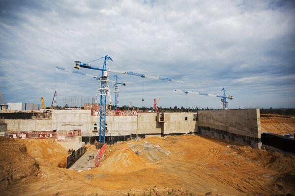 Вид на строительную площадку стартового стола космодрома Восточный