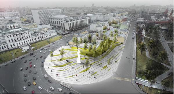 Проект благоустройства Боровицкой площади Wall Architectural Bureau