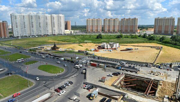 Строительство Кожуховской линии метро в районе Некрасовка в Москве (станция Некрасовка)