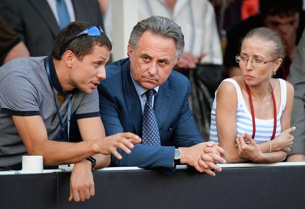 Юрий Борзаковский, Виталий Мутко и Ольга Каниськина (слева направо)