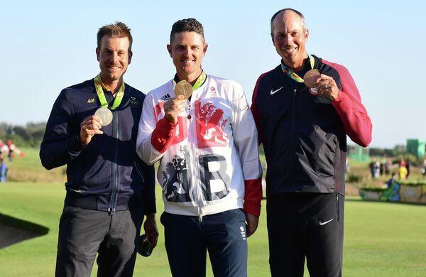 Призеры олимпийского турнира по гольфу Хенрик Стенсон, Джастин Роуз и Мэтт Кучар (слева направо)