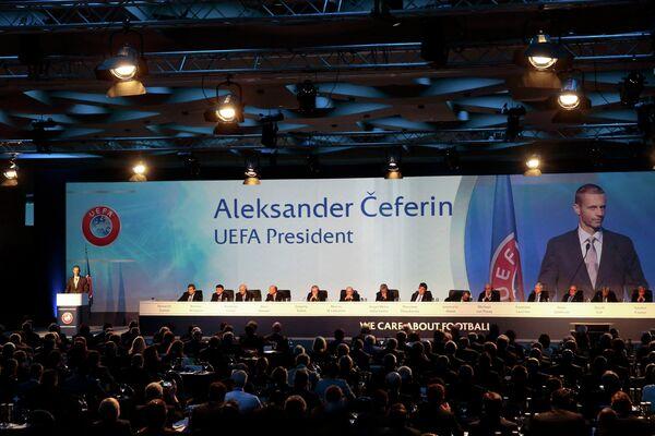 Выступление президента УЕФА Александера Чеферина на конгрессе организации