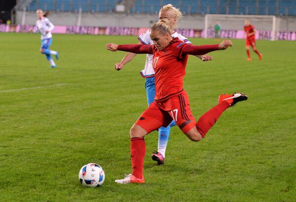 Игровой момент матча сборных России и Германии