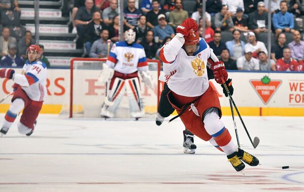 Хоккеисты сборной России Алексей Емелин, Сергей Бобровский и Александр Овечкин (слева направо)