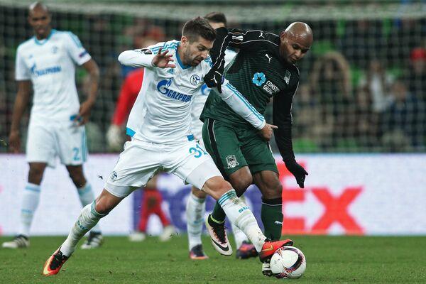 Игровой момент матча Краснодар - Шальке