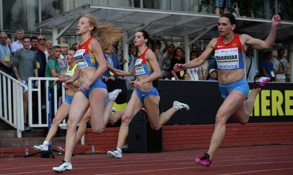 Российские легкоатлетки на Всероссийских соревнованиях Звезды 2016 на стадионе имени братьев Знаменских в Москве