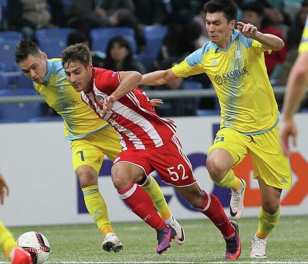 Игровой момент матча Астана - Олимпиакос