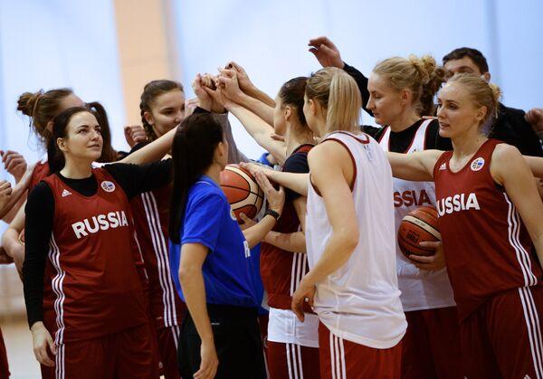Баскетболистки женской сборной России во время тренировки
