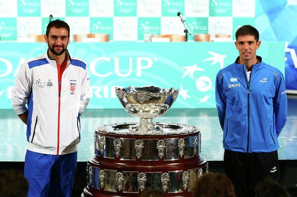 Хорватский теннисист Марин Чилич и аргентинец Федерико Дельбонис (слева направо)