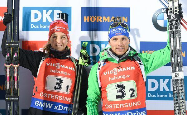 Биатлонисты сборной Германии Франциска Пройс и Эрик Лессер