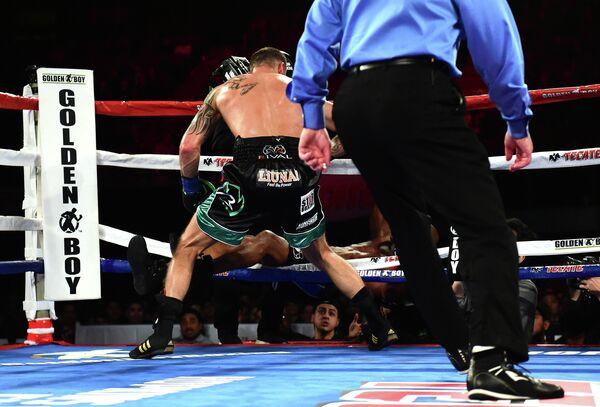 Боксер Джо Смит (слева) выбивает за пределы ринга Бернарда Хопкинса
