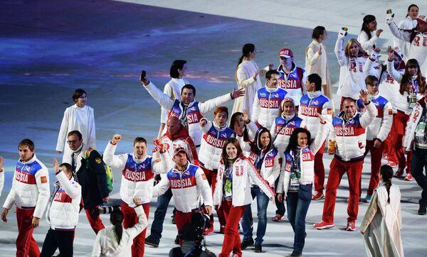 Представители России во время парада атлетов и членов национальных делегаций на церемонии закрытия XXII зимних Олимпийских игр в Сочи