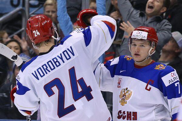Нападающие сборной России Михаил Воробьёв (слева) и Кирилл Капризов