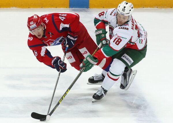 Игровой момент матча Локомотив - Ак Барс