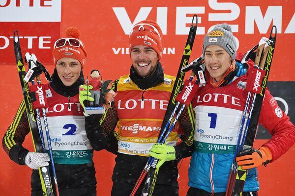 Немцы Эрик Френцель и Йоханнес Ридзек, австриец Марио Зайдль (слева направо)