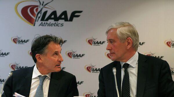 Президент IAAF Сабастьян Коэ и глава рабочей группа IAAF по вопросу восстановления членства ВФЛА Руне Андерсен (слева направо)