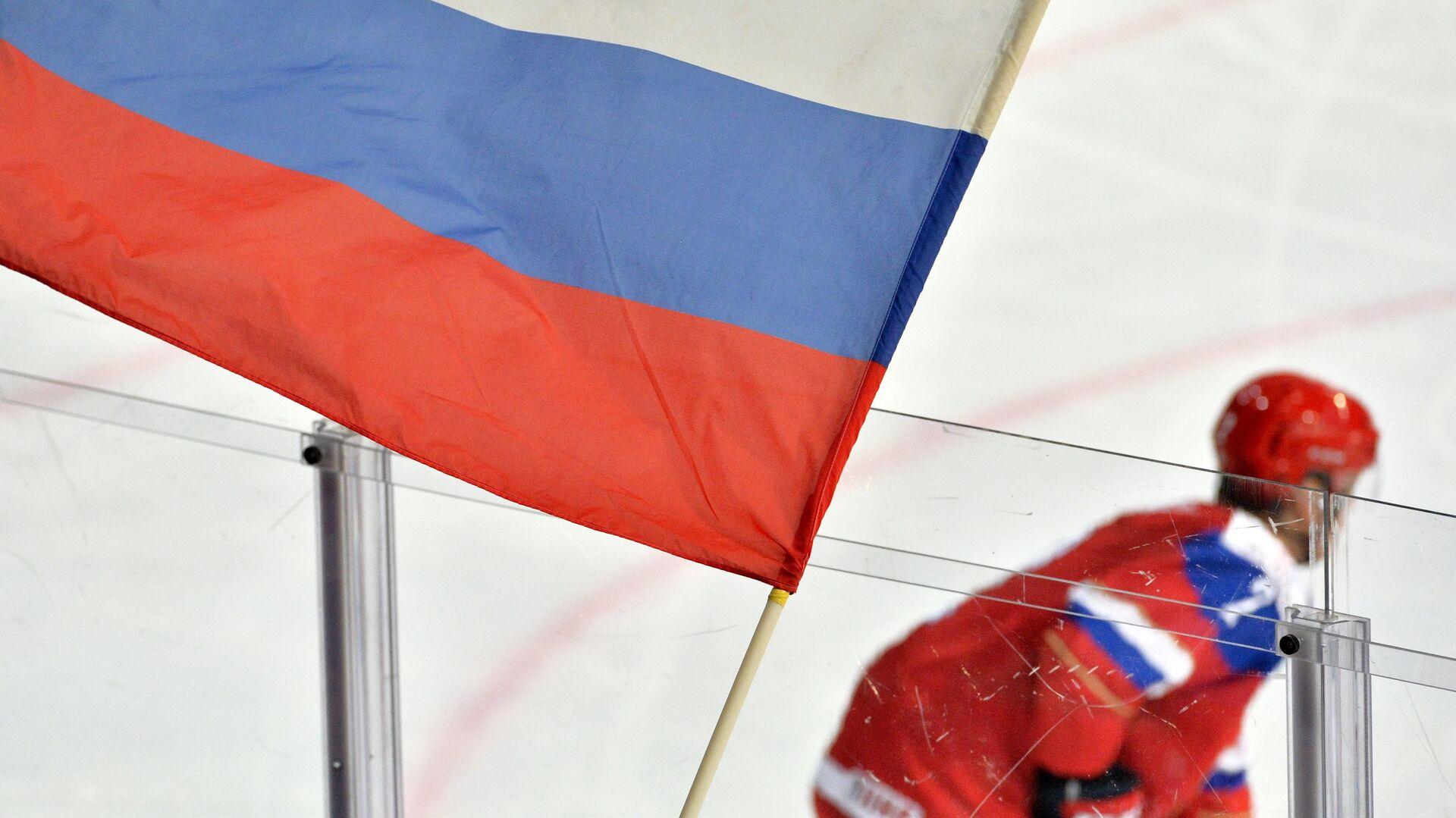 Болельщик сборной России держит флаг во время хоккейного матча - РИА Новости, 1920, 01.05.2021