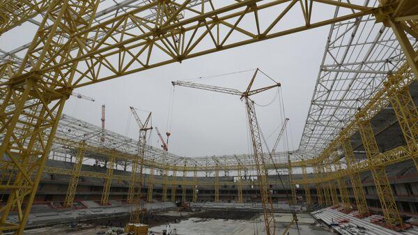 Строительство Стадиона Калининград, который примет матчи чемпионата мира-2018 по футболу