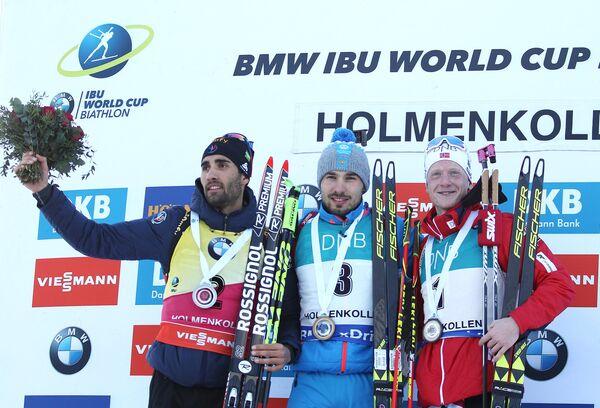 Мартен Фуркад, Антон Шипулин и Йоханнес Бё (слева направо)