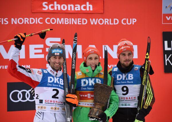Австриец Вильгельм Денифль и немцы Эрик Френцель и Йоханнес Ридзек (слева направо)