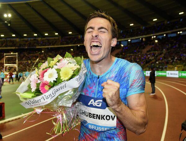 Сергей Шубенков после победы в финале Бриллиантовой лиги в Брюсселе