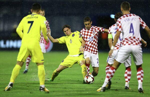 Игровой момент матча Хорватия - Косово