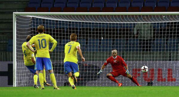 Игровой момент матча отборочного турнира чемпионата мира 2018 года между сборными Белоруссии и Швеции
