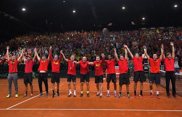Теннисисты и тренерский штаб сборной Бельгии